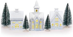 Mark Feldstein & Associates Village with Trees White 6 inch Unglazed Porcelain Holiday Figurines 7 Piece Set