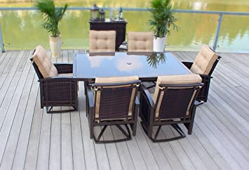 7pc Cast Aluminum Sling Patio Furniture Set