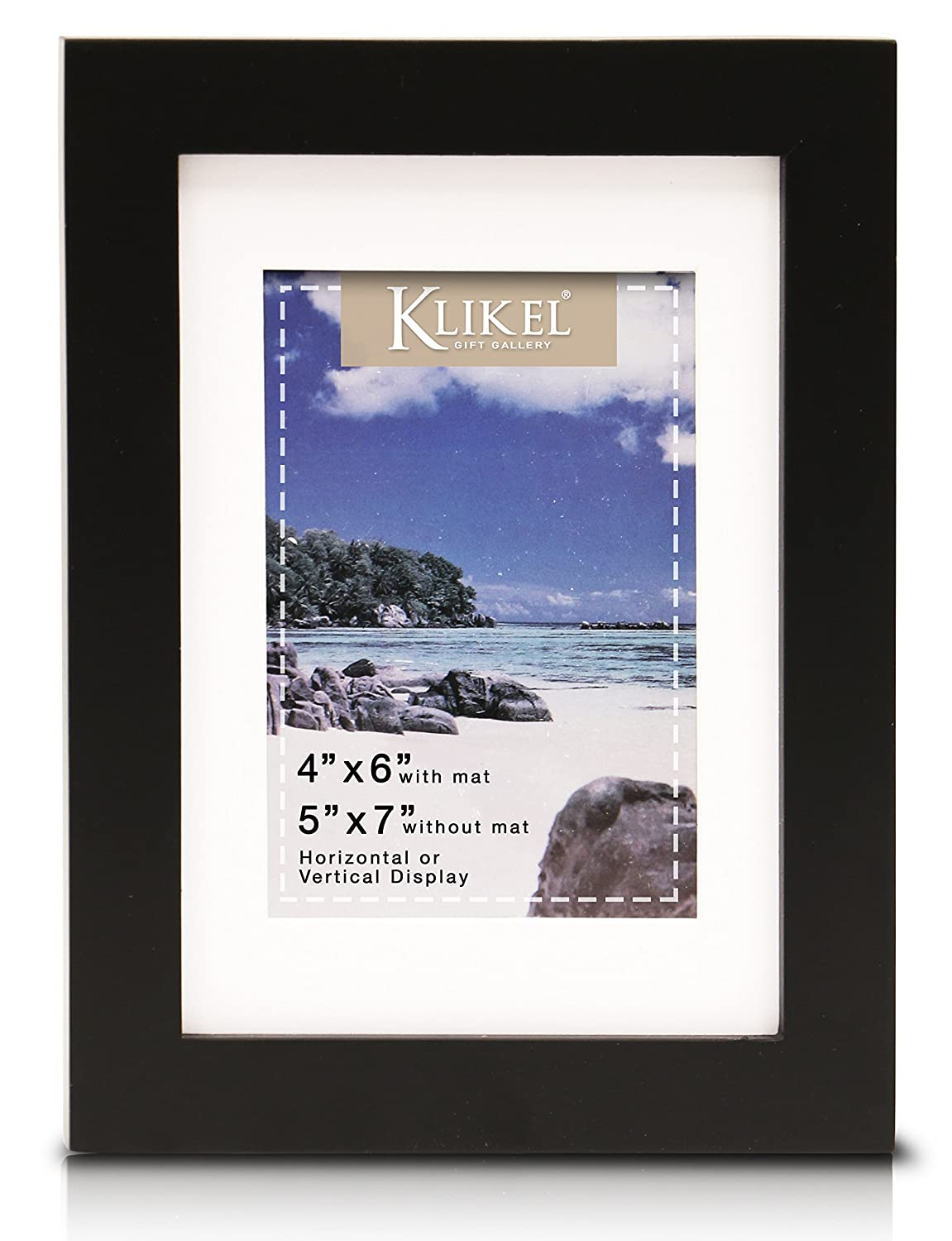 Klikel 4 X 6 Picture Frame | Black Wooden Matted Wall Frame | 5x7 Frame Without Mat | Set of 2 Wall Hanging and Table Standing Picture Frames