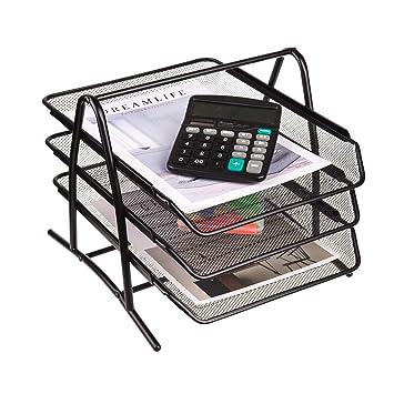 Bandeja organizadora de escritorio de 3 niveles para archivar documentos, escritorio y ordenador de apilamiento