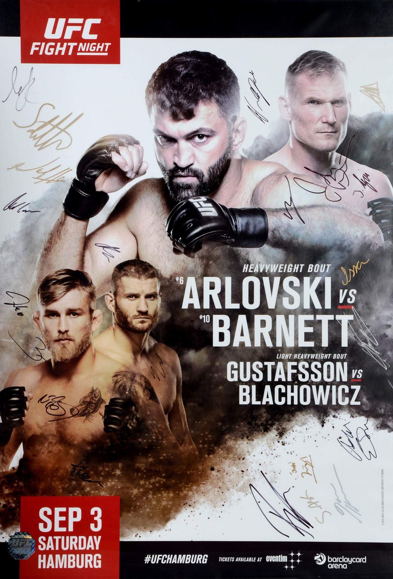 "UFC Fight Night 93 Arlovski vs. Barnett Autographed 27"" x 39"" 22 Signature Fight Poster Fanatics Authentic Certified"