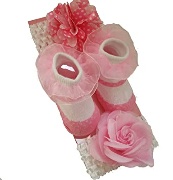 Amazon newborn infant baby girl gift sock set with 2 floral newborn infant baby girl gift sock set with 2 floral headbands headwraps negle Images