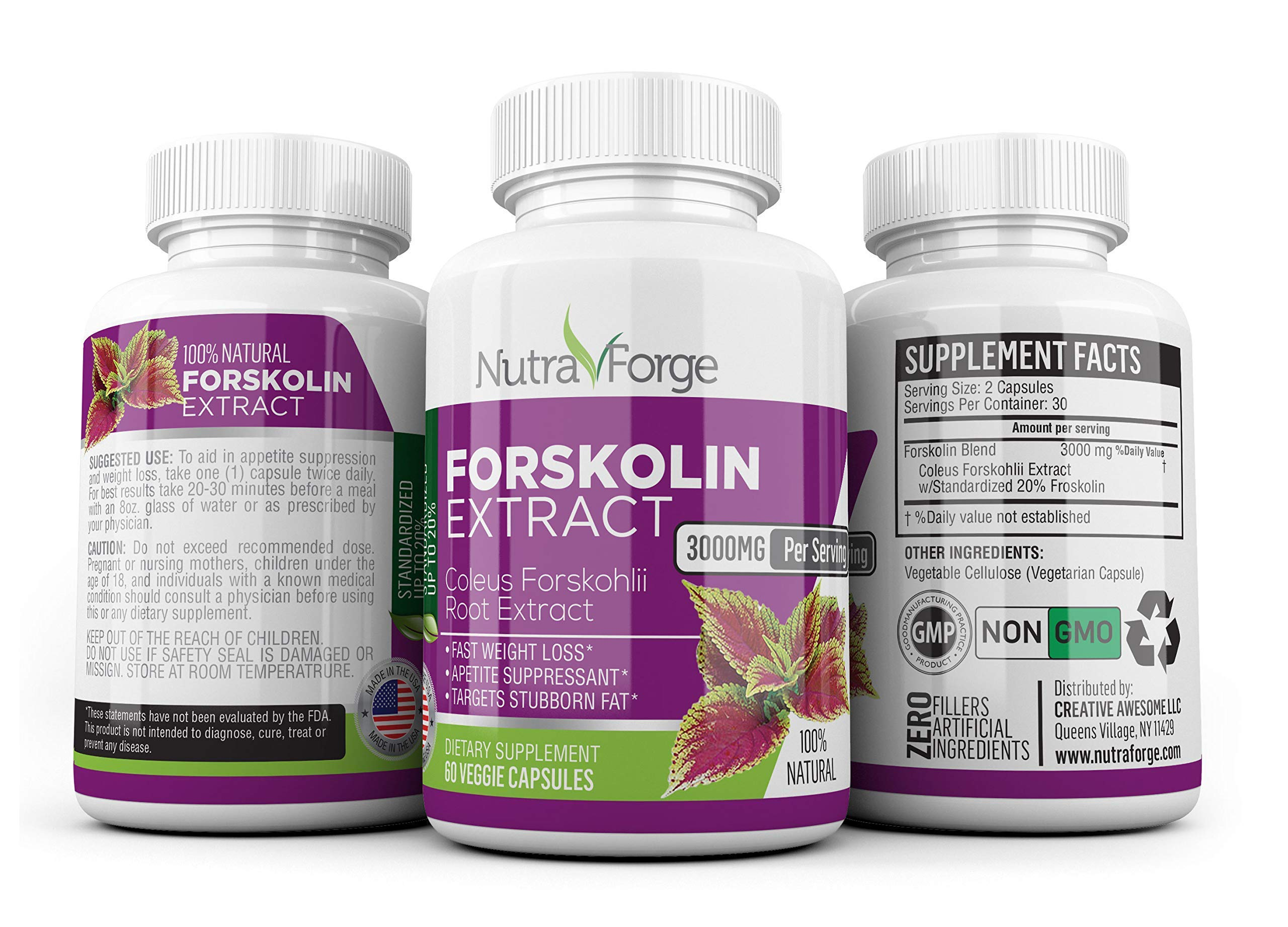 Pure Forskolin 3000mg Max Strength - Forskolin Extract for Weight Loss - Premium Appetite Suppressant, Metabolism Booster, Carb Blocker & Fat Burner for Men and Women - 3 Pack by Nutra Forge (Image #2)