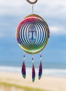 VP Home Kinetic 3D Metal Outdoor Garden Decor Wind Spinner (Tree of Life Dreamcatcher with Feathers)