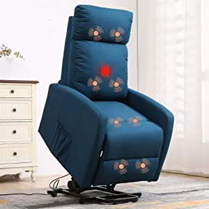 Massage Recliner Chair for Elderly Electric Power Lift Chair Sofa Reading Chair Living Room Chairs Fabric Reclining Chair Ergonomic Heated Lazyboy Bedroom Home Theater Seating Recliners,Blue