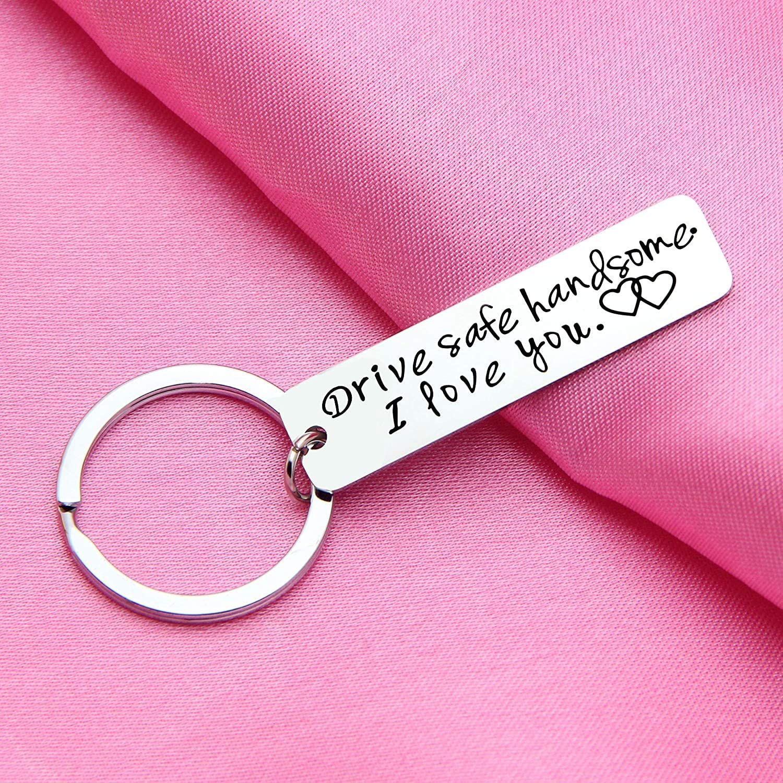 Drive Safe Handsome I Love You Couple Car Keyring Key Ring Gifts for Husband Boyfriend Him Her