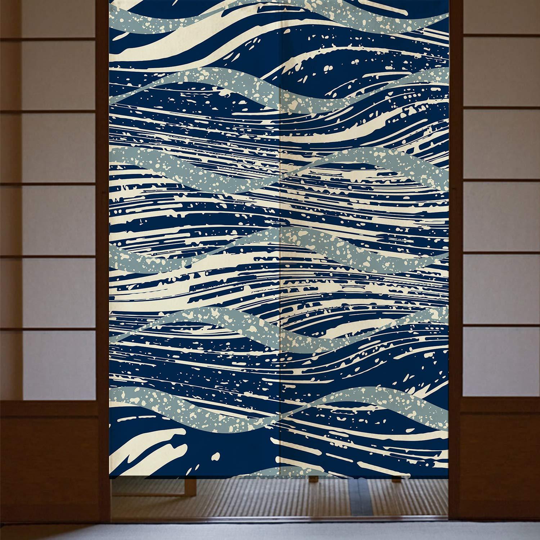 "Orange Design Navy Artistic Streamline The Great Wave Door Curtain Cotton Linen 33.5""x 59"" Door Curtain for Home Decor"