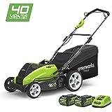 Greenworks Tondeuse à gazon sans fil sur batterie 45cm 40V Lithium-ion avec 2 batteries 2Ah et chargeur - 2500107UC