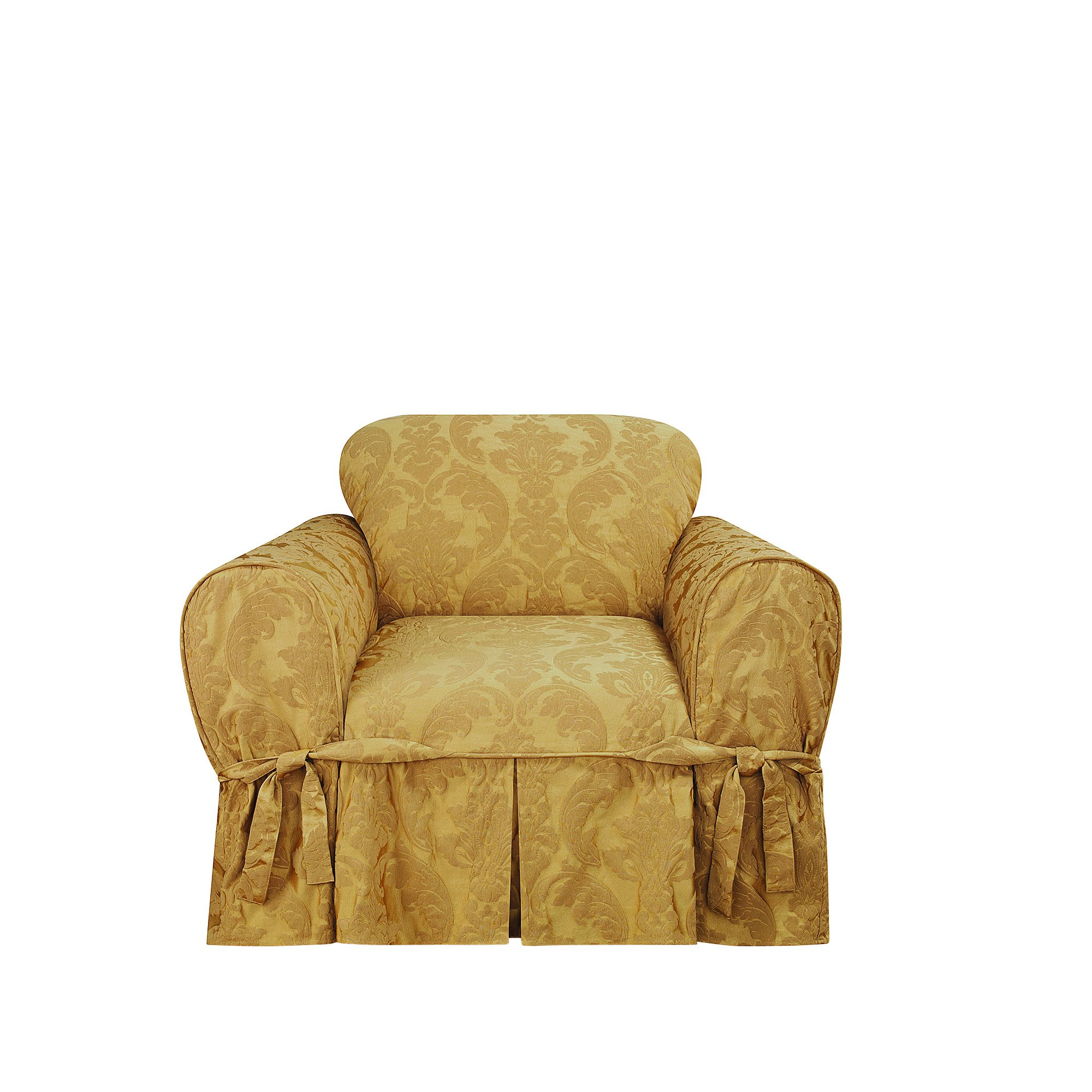 Sure Fit Matelasse Damask One Piece Chair Slipcover - Gold by Surefit (Image #1)