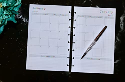 Staples Calendar 2022.2019 2020 2021 2022 Monthly Calendar For Discbound Planners Fits Circa Junior Tul Planner Inserts Only Arc Jr By Staples Martha Stewart And All Half Letter Size 5 5 X 8 5 Handmade Products Stationery Party Supplies