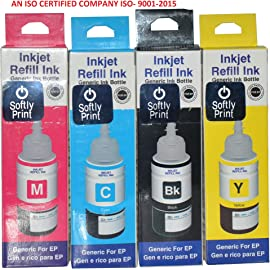 Softly Print Epson 664 Multicolor Ink Bottle  Yellow, Magenta, Cyan, Black Pack of 4  Ink Cartridges