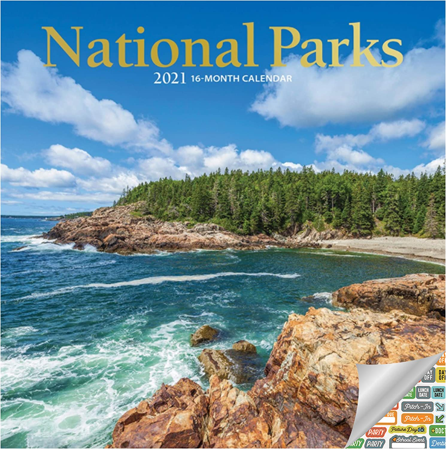 National Parks Calendar 2021 Bundle - Deluxe 2021 National Parks Mini Calendar with Over 100 Calendar Stickers (Nature Gifts, Office Supplies)