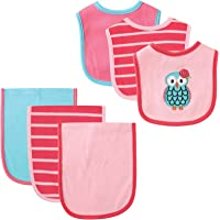 Hudson Baby 6 Piece Bib and Burp Cloth Set