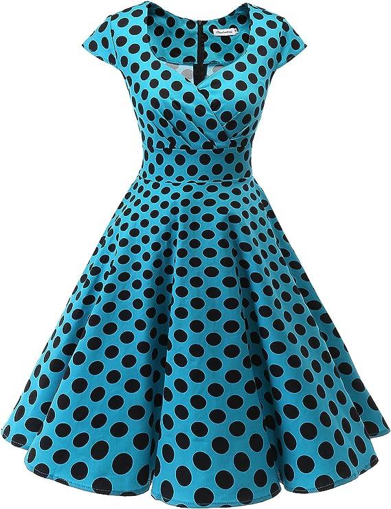 TALLA XS. Bbonlinedress Vestido Corto Mujer Retro Años 50 Vintage Escote En Pico Blue Black Bdot XS