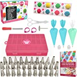 Cake Decorating Supplies Kit 30pcs Set - 24 Stainless Steel Icing Frosting Tips - 2 Couplers Storage Case 2 Reusable Silicone 10 Disposable Pastry Bags - Baking Tool Supply Piping Cake Nozzle