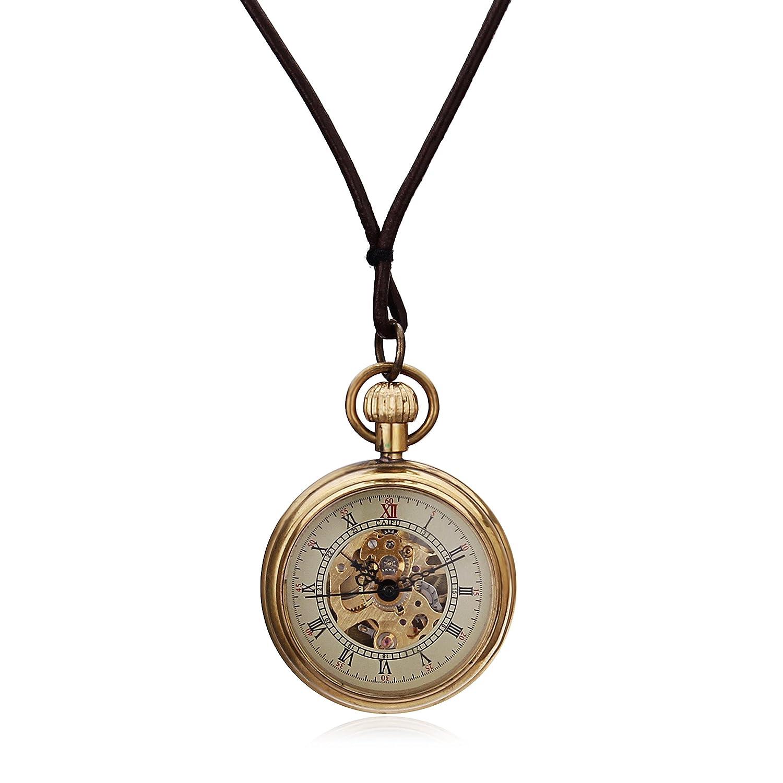 Miniすべて銅中空ローマ数Dial Hand Wind Mechanical Pocket Watch W / Chain Ladies Watch Relogio De Bolso B06XQ4DT9D