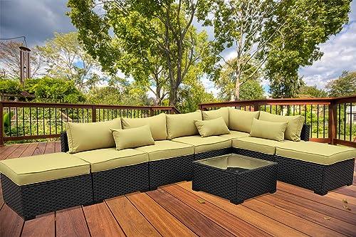 VALITA Patio PE Wicker Furniture Set 8 Pieces Outdoor Black Rattan Sectional Conversation Sofa Chair