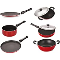 Nirlon Gas Compatible Non-Stick Aluminium Cookware Set, Red/Black