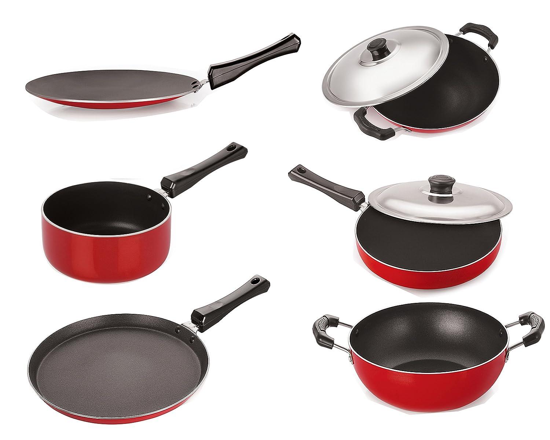 Nirlon Non-Stick Aluminum Cookware Set, 6-Pieces, Red/Black Nonstick Cookware Sets