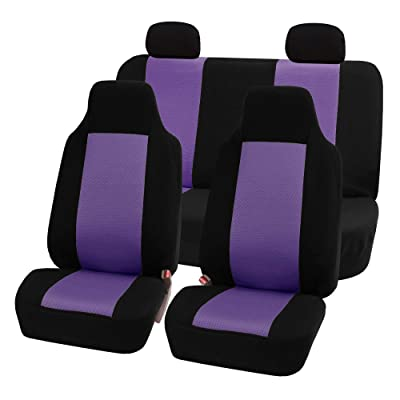 FH Group FB102PURPLE114-AVC FB102PURPLE114 Classic Full Set High Back Flat Cloth Seat Covers, Purple/Black-Fit Most Car, Truck, SUV, or Van: Automotive
