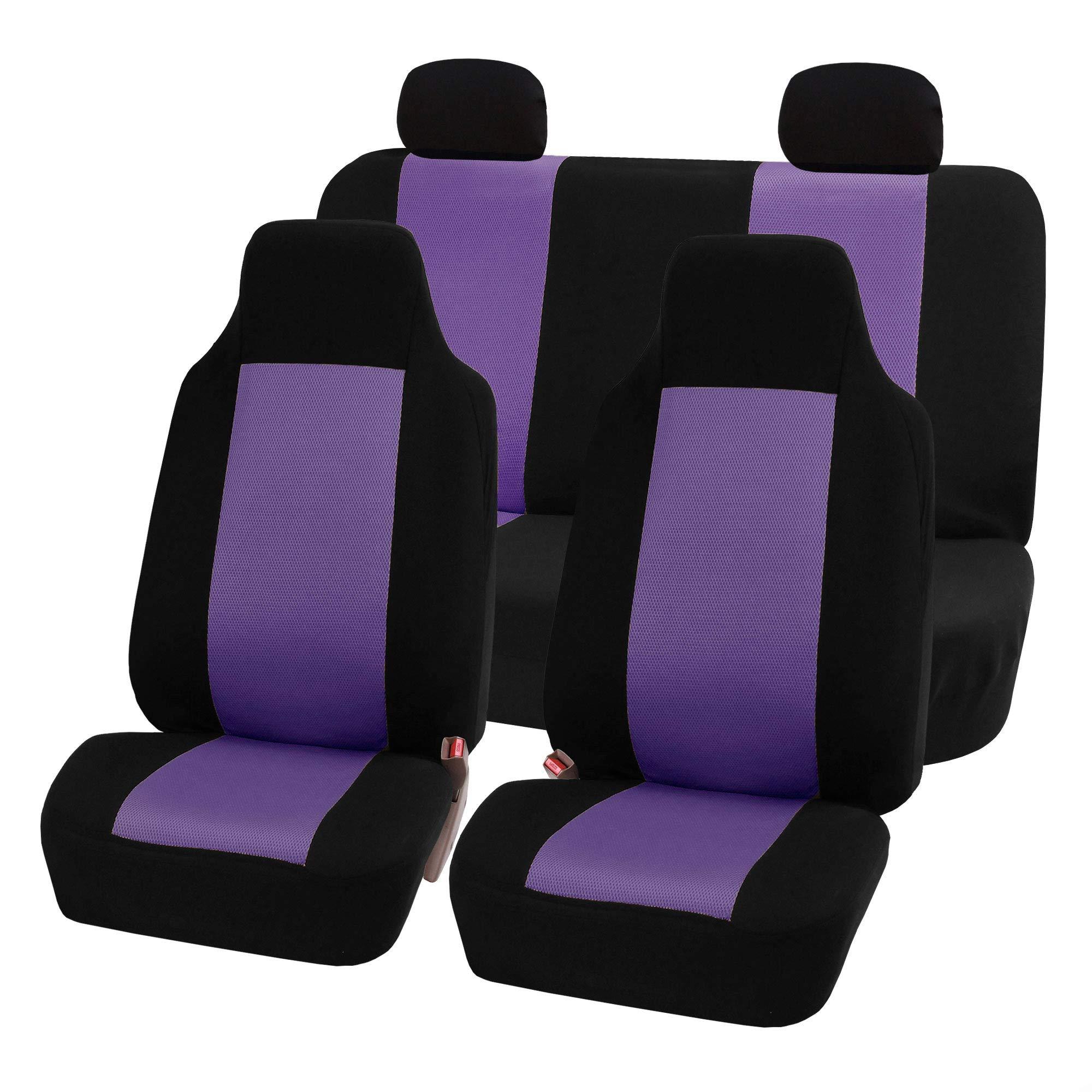 FH Group FB102PURPLE114-AVC FB102PURPLE114 Classic Full Set High Back Flat Cloth Seat Covers, Purple/Black-Fit Most Car, Truck, SUV, or Van