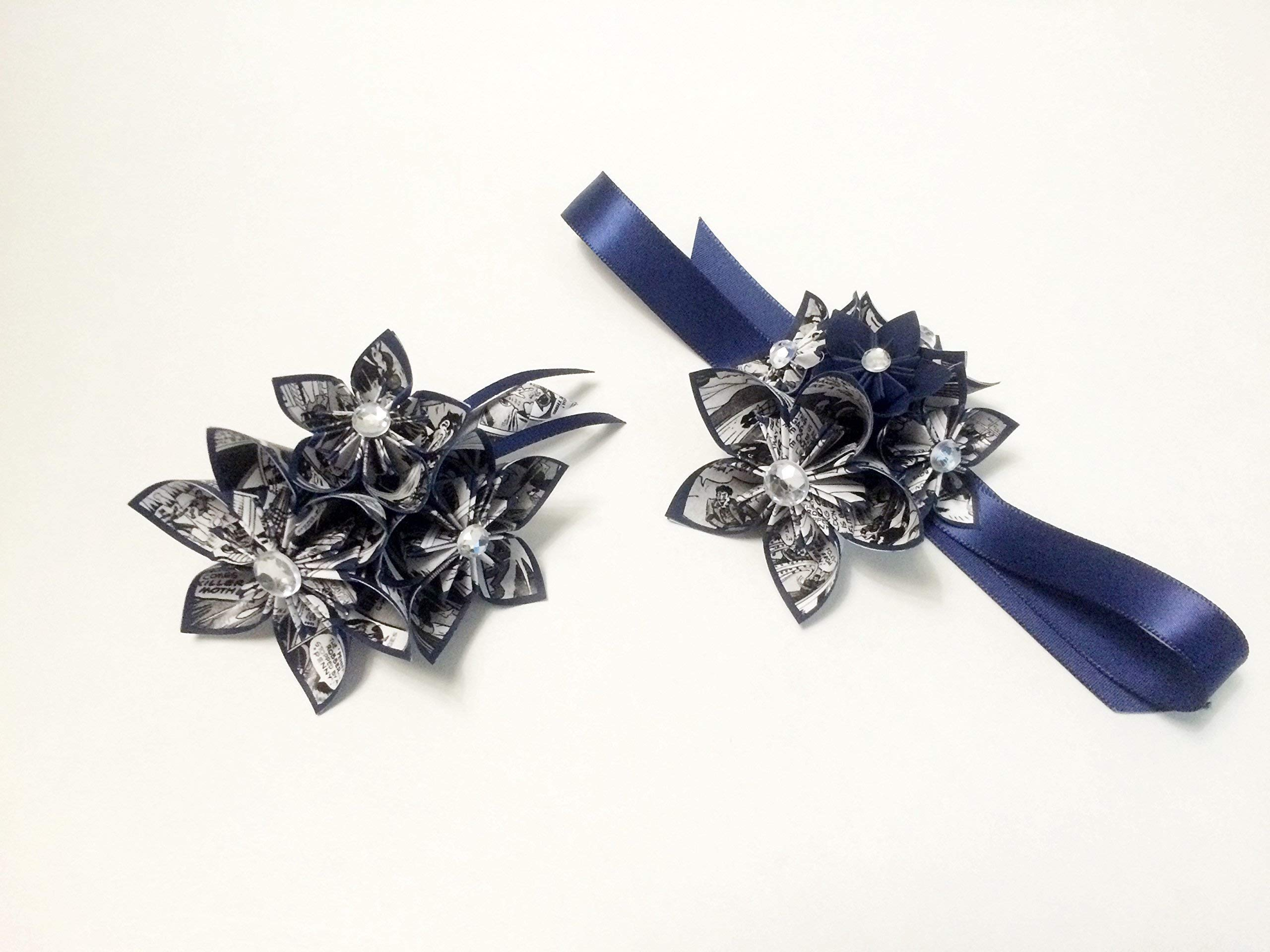 Comic-Book-Date-Night-Corsage-Boutonniere-set-one-of-a-kind-paper-flowers-origami-prom-graduation-military-ball-formal-homecoming-wedding-accessory