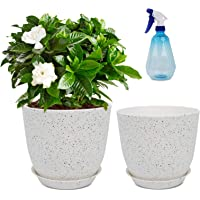 2PCS Plastic Planters with Saucers - Modern Flower Pots for Indoor Outdoor - Plant Pots with Drainage Holes & Tray…
