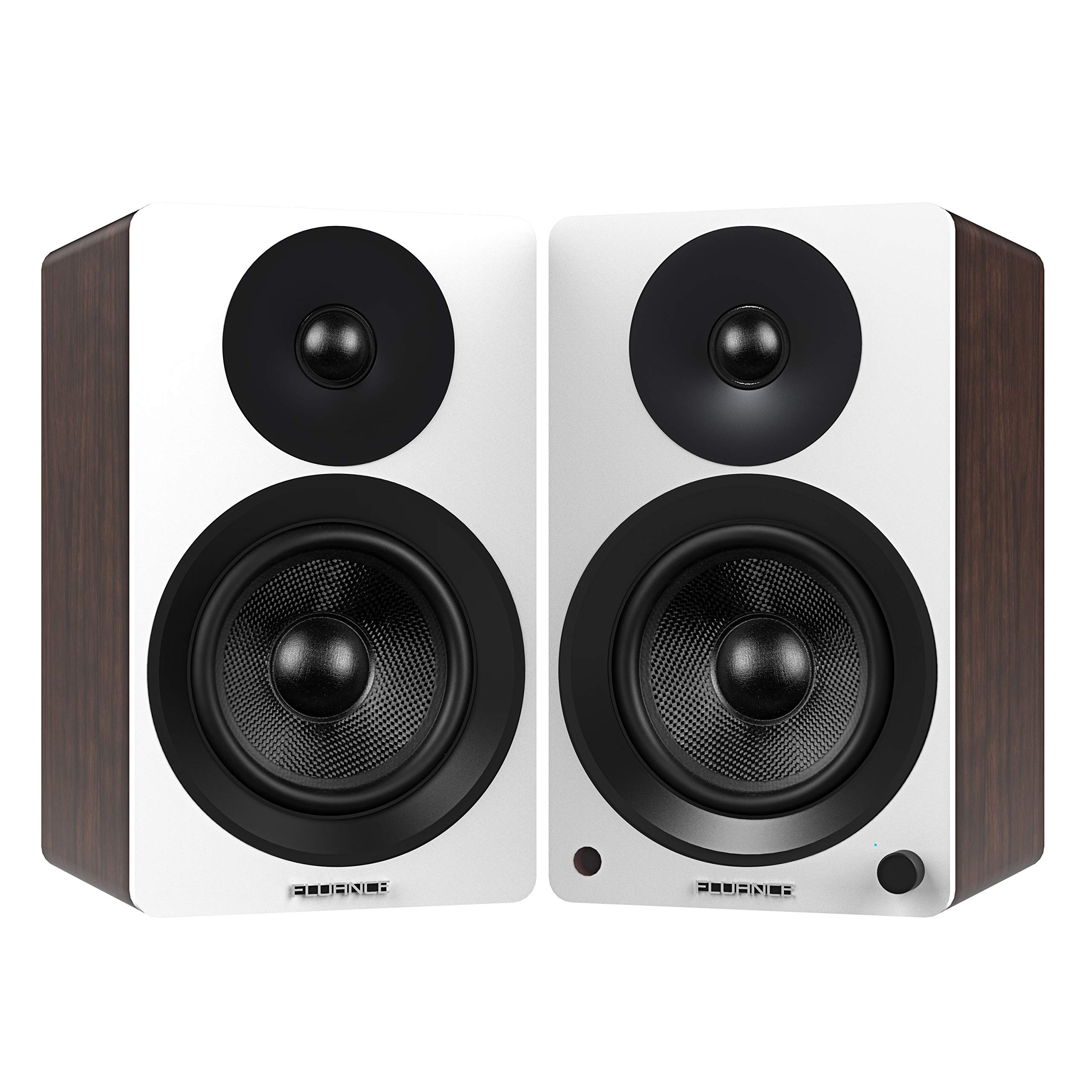 Fluance Ai60 High Performance Powered Two-Way 6.5'' 2.0 Bookshelf Speakers with 100W Class D Amplifier for Turntable, PC, HDTV & Bluetooth aptX Wireless Music Streaming (White Walnut)