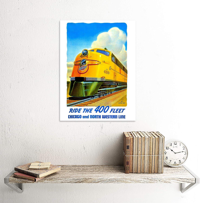 TRANSPORT TRAIN RAIL LOCOMOTIVE ENGINE YELLOW FLEET USA ART PRINT POSTER CC2252