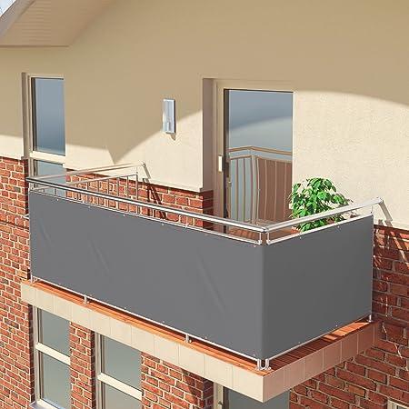 Imagen dePantalla de balcón premium de Balconio, x cm, impermeable, pantalla para balcón para tener privacidad, con cierre de cuerda incluido, poliéster, Gris, 500 x 85 cm
