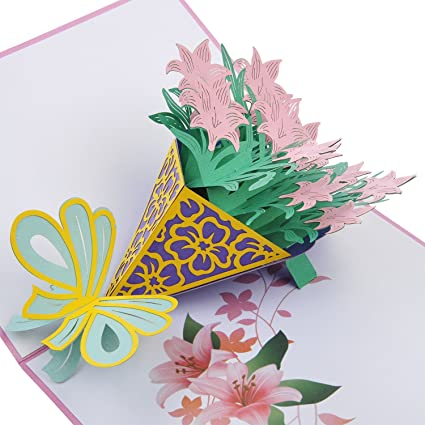 Buy Lovoca Pop Up 3D Card Pink Lily Bouquet Cards Greeting Thank You Birthday Size79 X 59 Inches With An Envelope Online At Low