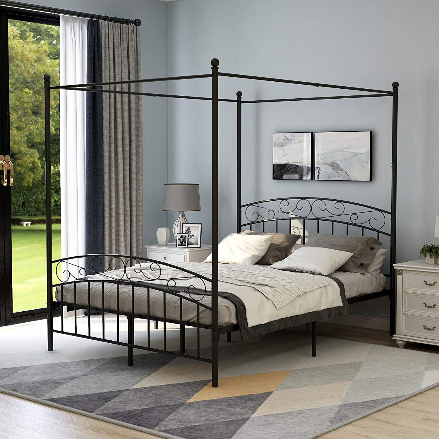 Queen Size Canopy Bed Frame with Headboard and Footboard Sturdy Metal Steel Easy Assembly, Texture Black