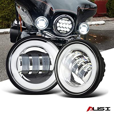 "AUSI Chrome 4-1/2"" 4.5 IN HALO Fog Lights Passing Lamps DRL bulb For Harley Davidson Electra Trike Heritage Road King Switchback Trike Yamaha Roadliner Roadstar royal star tour deluxe V-Star 1100: Automotive"