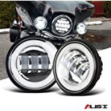 "AUSI Chrome 4-1/2"" 4.5 IN HALO Fog Lights Passing Lamps DRL bulb For Harley Davidson Electra Trike Heritage Road King…"