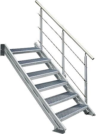 Alu-perfil Holm-escalera COLORADO para exteriores, con rejilla 800 mm de ancho, 7 pendientes: Amazon.es: Bricolaje y herramientas
