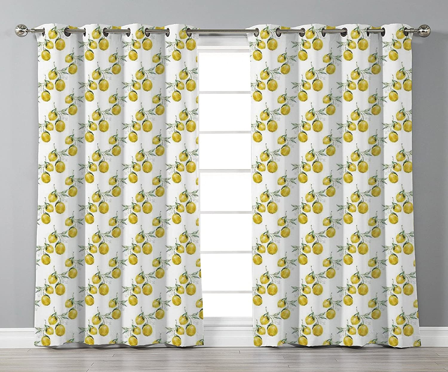 iPrint Stylish Window Curtains,Nature,Lemon Tree Branches Agriculture Kitchen Lemonade Citrus Figure Graphic Art,Olive Green Yellow,2 Panel Set Window Drapes,for Living Room Bedroom Kitchen Cafe