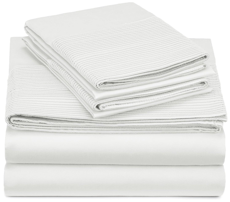 Parchment PH-SS-PMT-FL Pinzon 400-Thread-Count Egyptian Cotton Sateen Pleated Hem Sheet Set Full