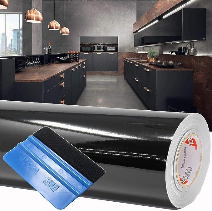 Finest Folia (1,98 €/m²) 10 m Lámina para Trazar Plotter Film Película Adhesiva Hoja de Muebles Brillante Escobilla de Goma Incluida (Negro, Alto Brillo): Amazon.es: Hogar