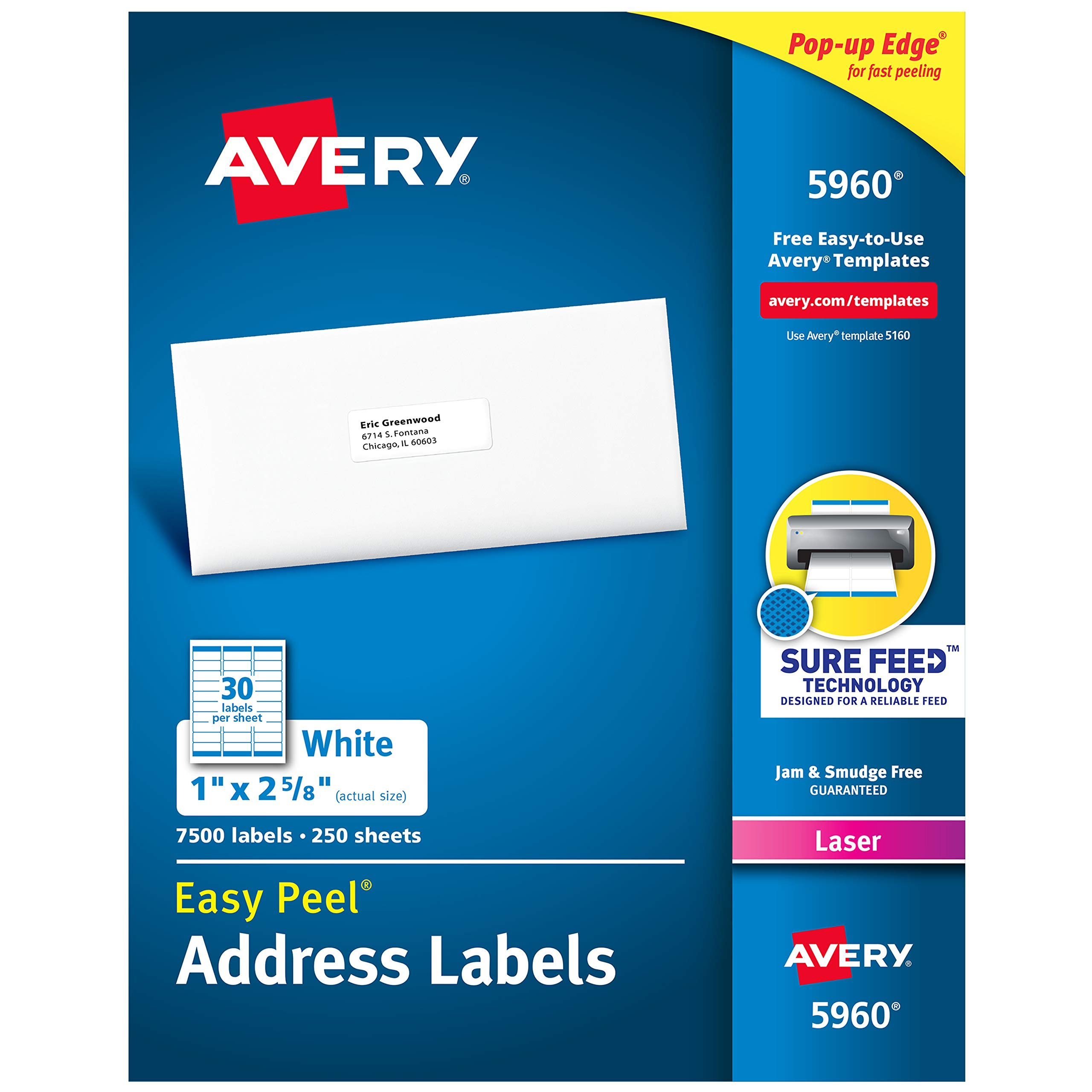 Avery Address Labels with Sure Feed for Laser Printers, 1'' x 2-5/8'', 7,500 Labels (5960)