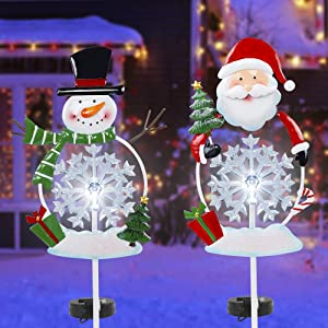FORUP Solar Christmas Yard Decorations, Outdoor LED Solar Powered Snowflake Xmas Pathway Lights, Metal Garden Stake Lights, Snowman Santa Christmas Lawn Yard Ornament, Set of 2