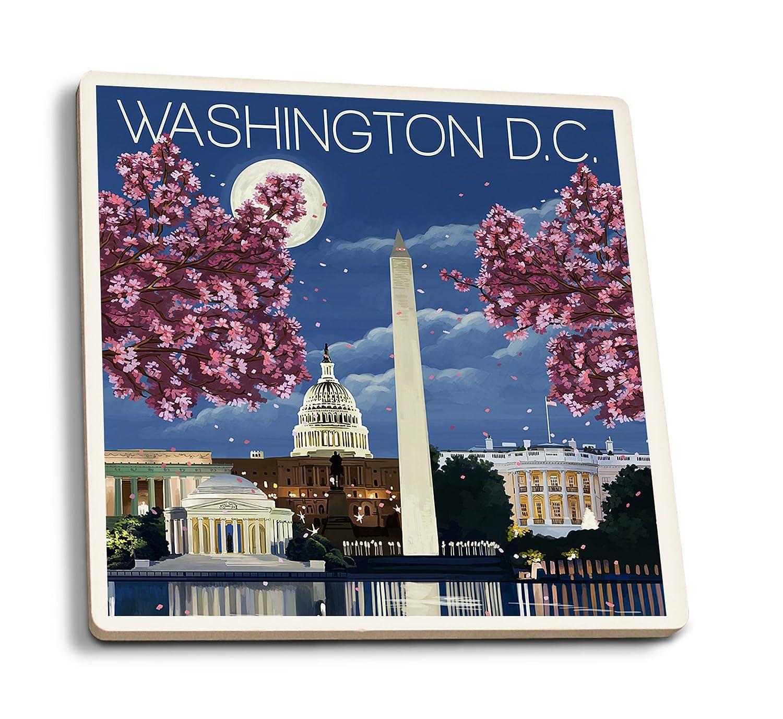 現品限り一斉値下げ! ワシントンDC – – ナイトシーン 4 Coaster Set Set 4 LANT-43875-CT B06XZRGWN9 4 Coaster Set, 長柄町:6ba1e7e1 --- mcrisartesanato.com.br