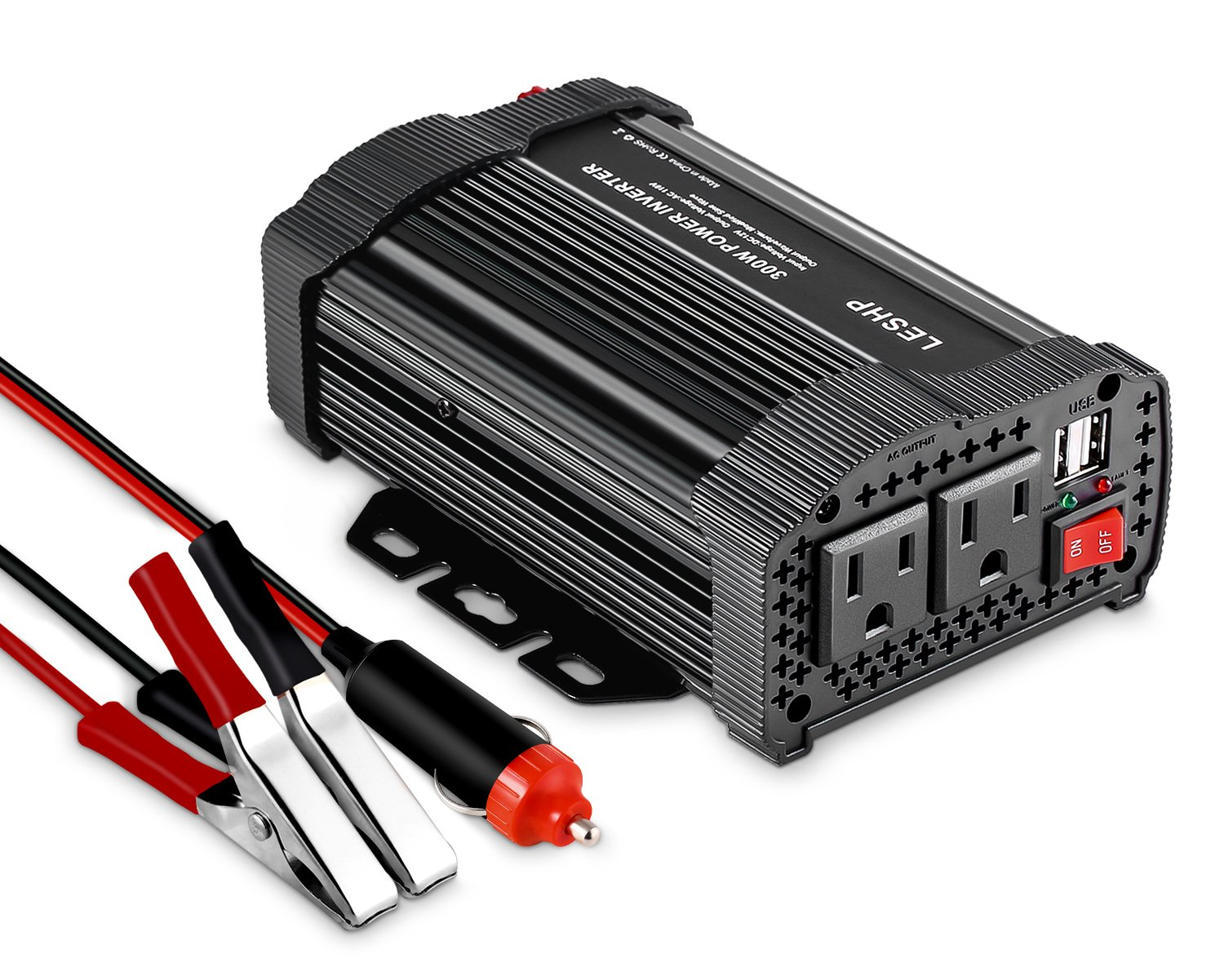 LESHP 400W Power Inverter DC 12V to AC 110V Car Adapter with 4.8A 2 USB Charging Ports by LESHP (Image #1)