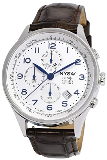 NYSW - Reloj Inteligente híbrido – Gran Correa de Piel Italiana – Cristal de Zafiro –