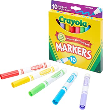 Crayola Broad Line Markers-Assorted Colors 10 Count Pckage With Ten Colors NEW