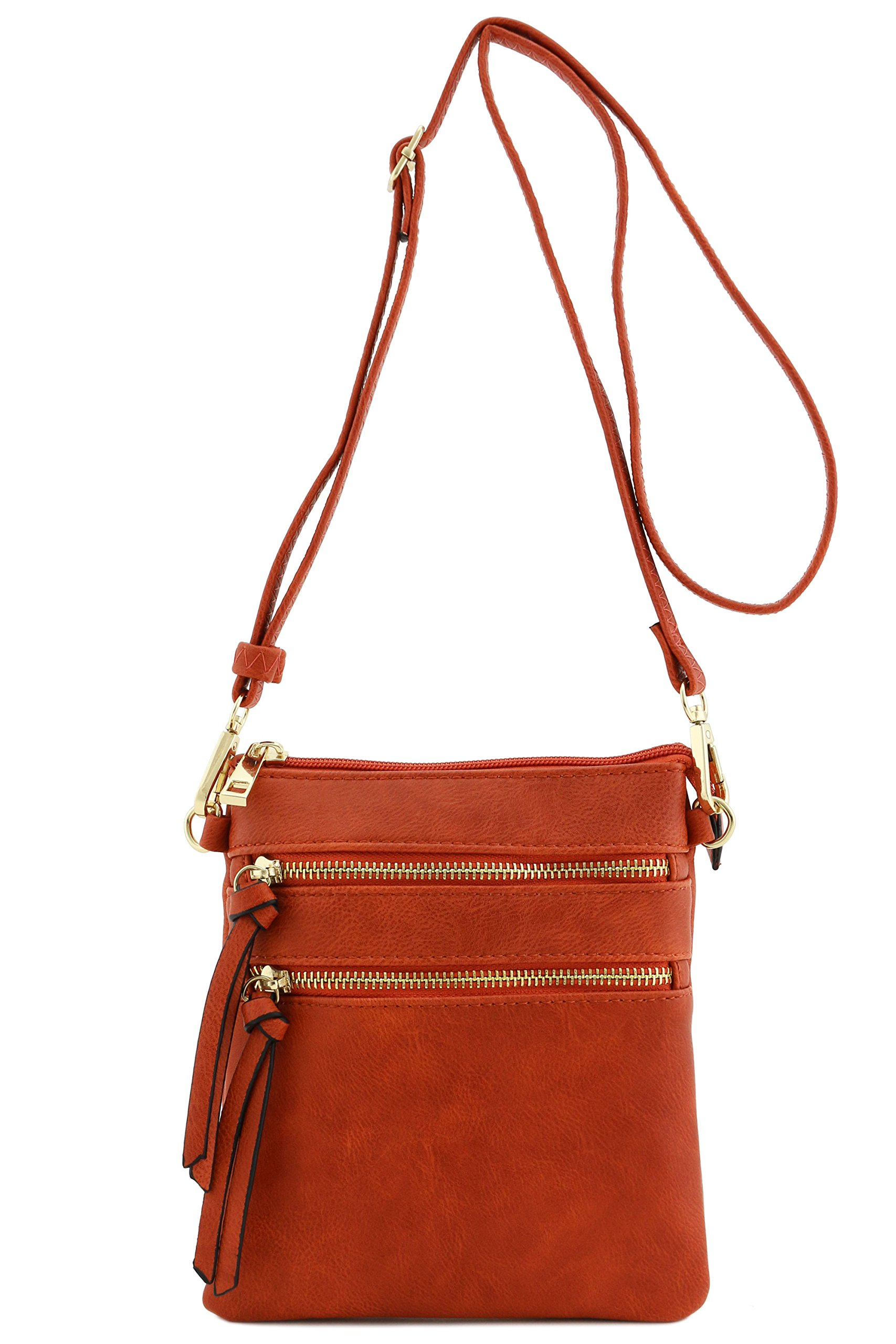 Functional Multi Pocket Crossbody Bag (Rust) by Isabelle