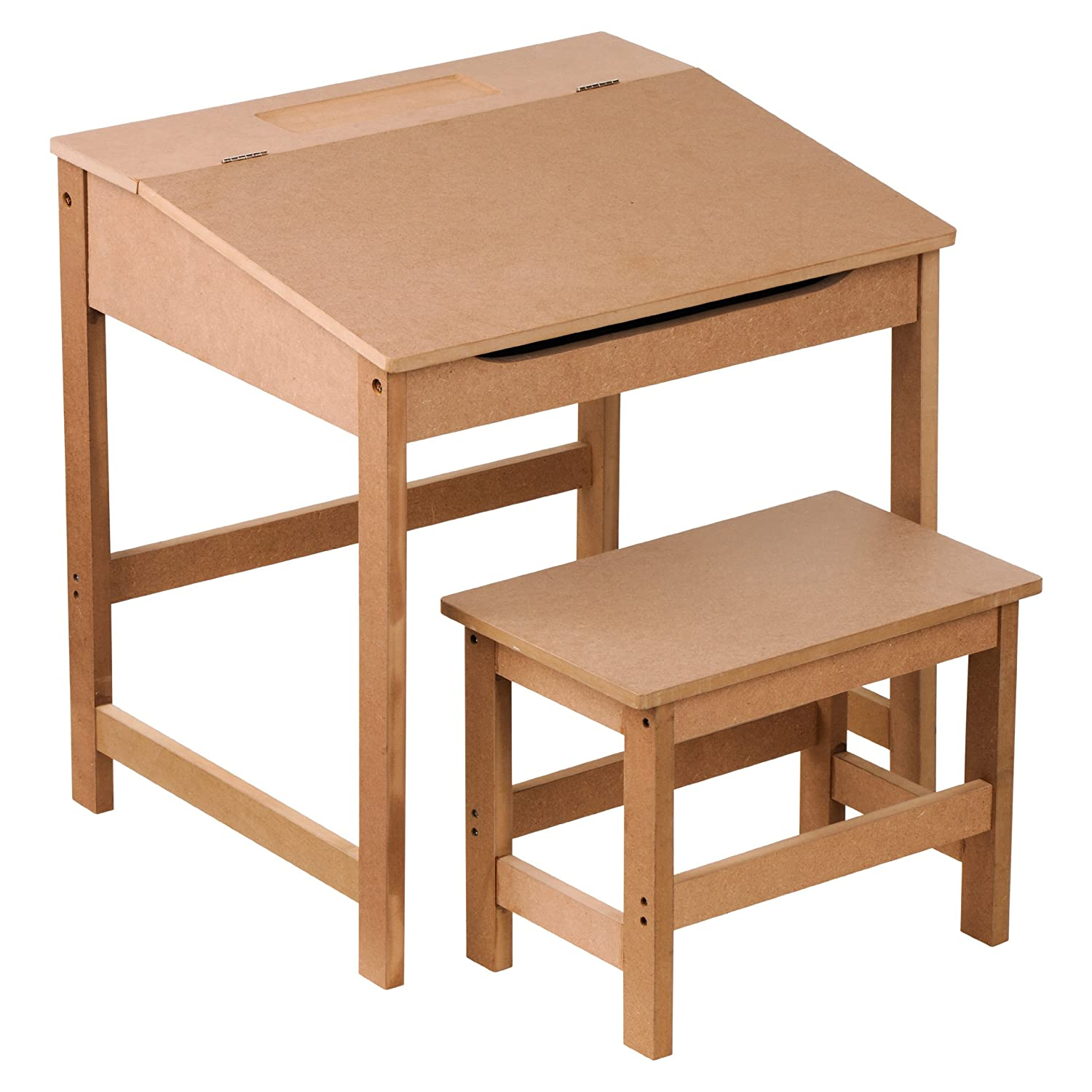 Premier Housewares Children s Desk and Stool Set Natural Amazon