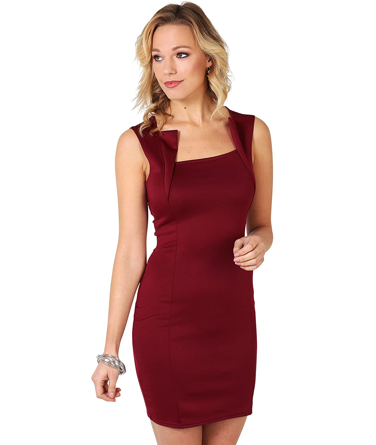 KRISP SALE Damen Figurbetontes Stretch Kleid Etuikleid Minikleid