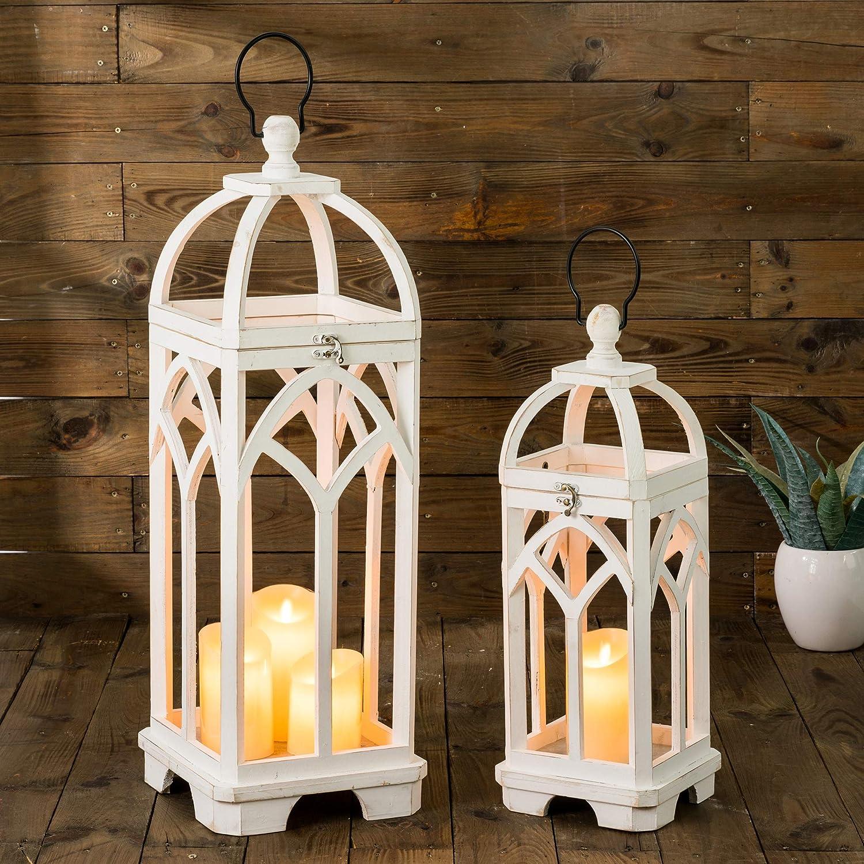 Glitzhome Pack of 2 Farmhouse Decorative Lanterns Wooden Candle Lantern Church Window Frame Lanterns for Wedding Mantle Entryway Home Patio Balcony Garden, Wash White, No Glass