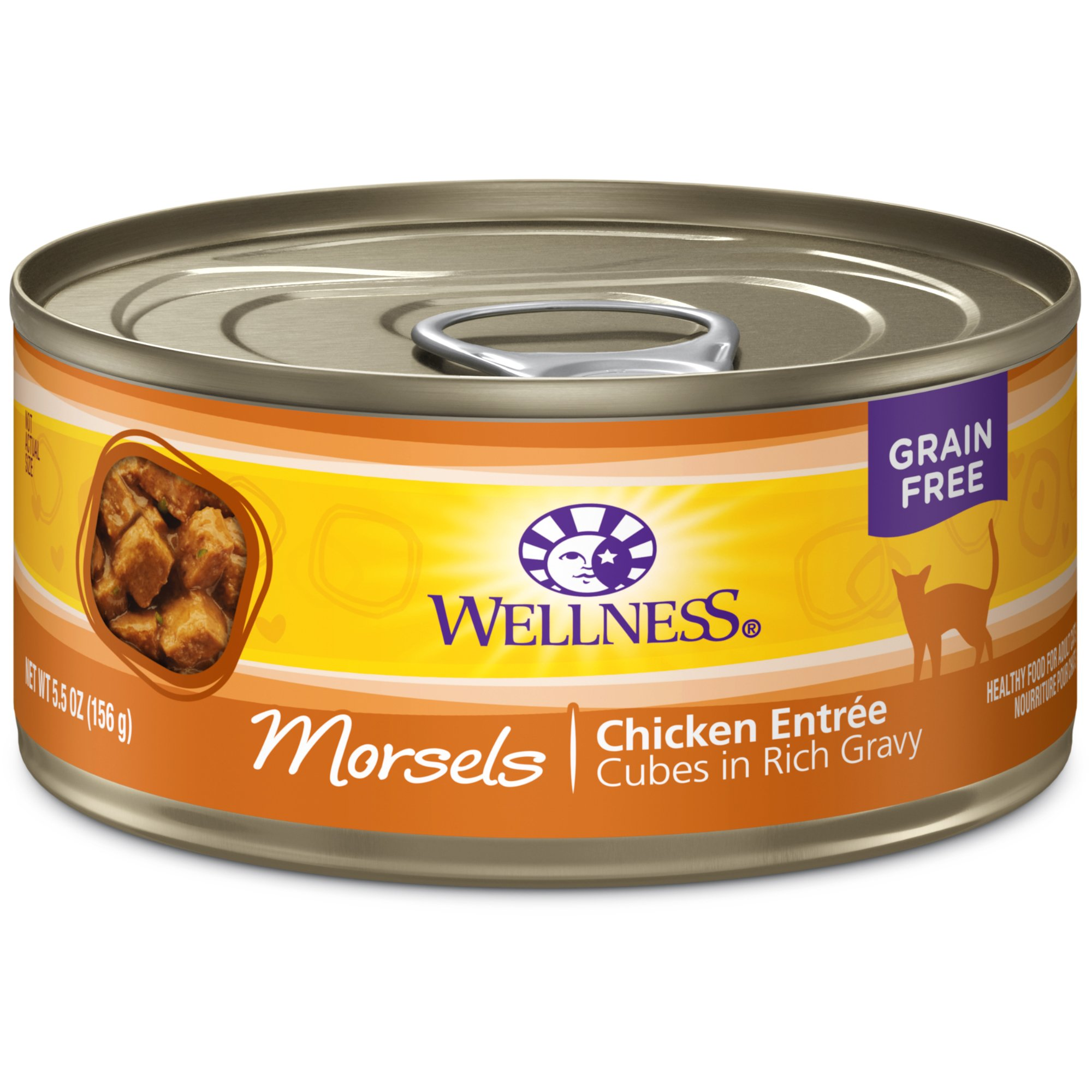 Wellness Complete Health Natural Grain Free Wet Canned Cat Food, Morsels Chicken Entrée, 5.5-Ounce Can (Pack Of 24) by Wellness Natural Pet Food