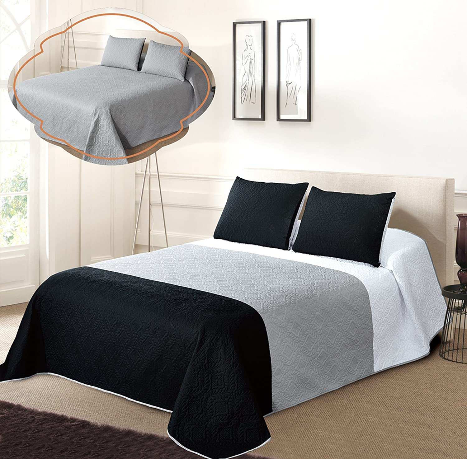 3pc Solid Three Color Combination Reversible Bedspread Set FULL / QUEEN, White/Grey/Black
